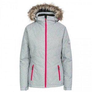TRESPASS Fur Hood Grey Pink Ski Snowboard Jacket